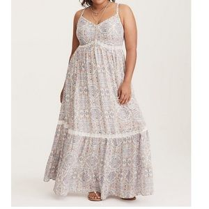 Torrid Tile Print Lace Insert Tiered Maxi Dress 3